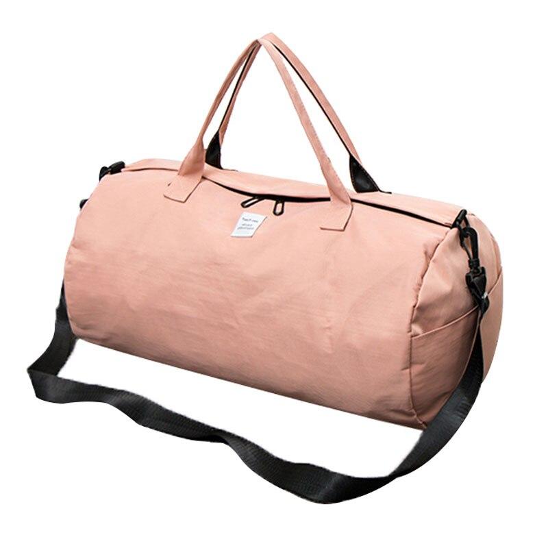Водонепроницаемый нейлон плечо спортивная сумка для Для женщин Фитнес Йога Спортивные сумки Карамельный Цвет Путешествия Tote сумки мужской Розовый xa507wd