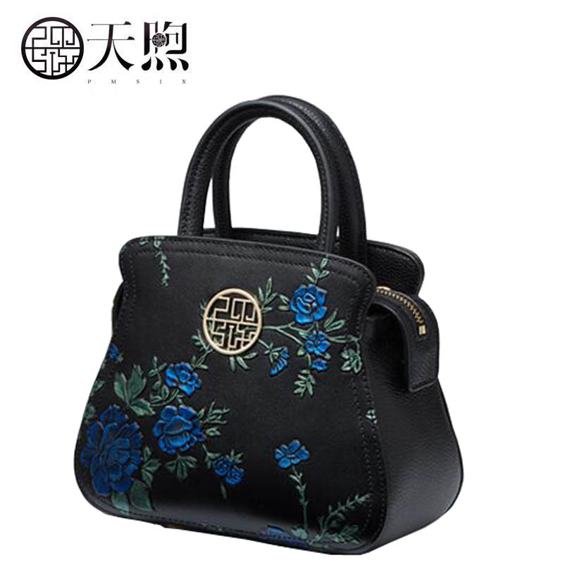 New women Genuine Leather bags fashion Embossed Flowers luxury handbags designer women bag tote handbags Crossbody bags new women leather bags fashion embroider flowers luxury tote handbags designer women bag leather handbags crossbody bags