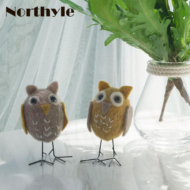 Genuine Northyle BS163376 Naughty Owl Bro Wool Bird Figurine Mini Owl Craft  Miniature Christmas Gift Home