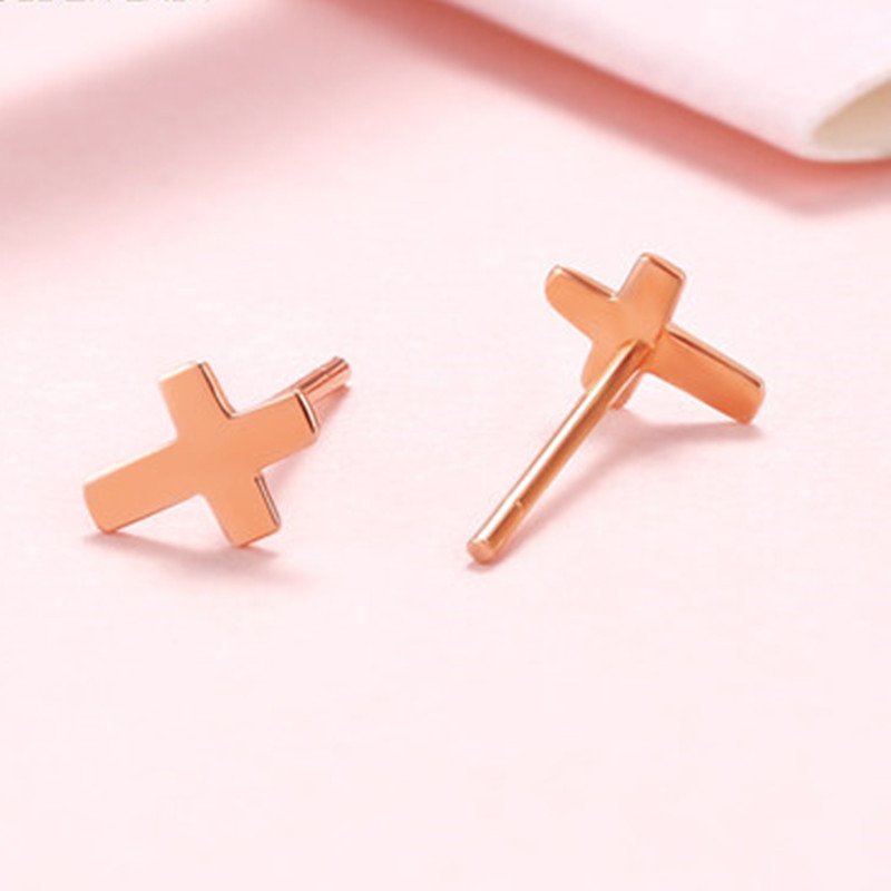 VOJEFEN Gold Cross Earring for Women Men, Small 18K Rose Earrings 10k Yellow Stud