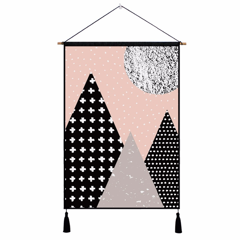New Geometric Color Customize Cotton Linen Wall Tapestry Hanging Cloth Tassel Home Decoration 450mm*650mm
