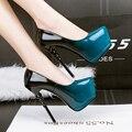 Gradiente de Color de la Mujer Delgada Plataforma de Los Tacones Altos Bombas de la Señora Sexy Deslizamiento En Punta En la Discoteca, Además de Zapatos de tamaño grande azul color