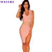 SORCHIDF Yeni Elbise Seksi Boncuk V Yaka Kolsuz Giysi Bölünmüş Hem Sıkı Bodycan Gece Kulübü Yaz Bandaj Elbise Parti