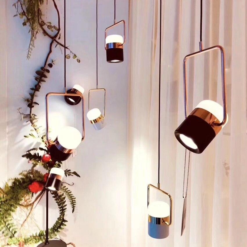 Nouveau pendentif LED postmoderne lumières plaqué or rose en fer forgé nordique simple suspension lampe salle à manger chambre lampe à main lumière - 5