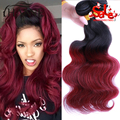 Ombre 7A Malaysian virgin hair body wave 3pcs lot Ombre 1B/Burgundy Red body wave Ombre Malaysian Body Wave Hair Extensions