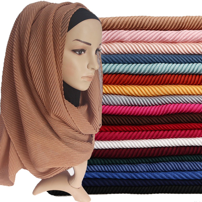Women Pleated Cotton Hijabs Scarf Plain Wrinkle Crinkle Crimp Shawl Wraps Stole Muffler Muslim Hijab Headscarf  22Color 180x80cm