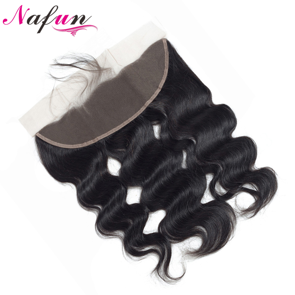 NAFUN Brazilian Body Wave Lace Frontal Closure 100% Human Hair 13*4 Lace Closures Non Remy 8-20 Inch Natural Color Free Shipping