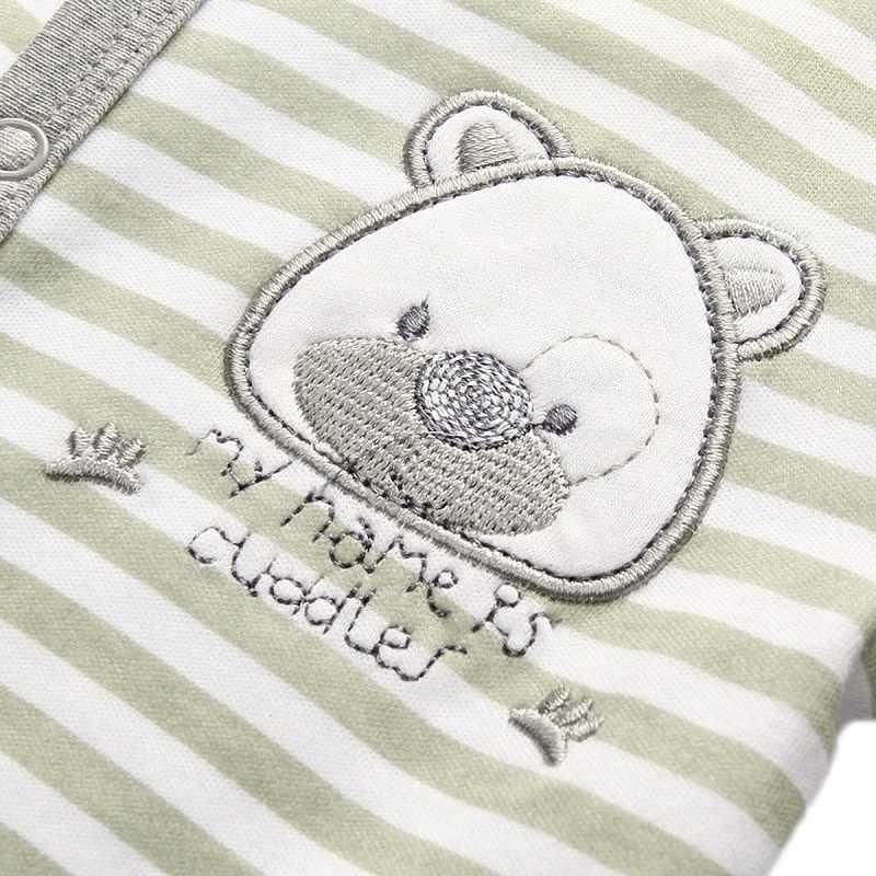 2 pcs a Roupa Do Bebê Recém-nascido Menino Macacão de Algodão Cinza Urso Roupa Do Bebê Pijamas Footed Macacão de Manga Longa Roupas Infantis Meninas conjunto