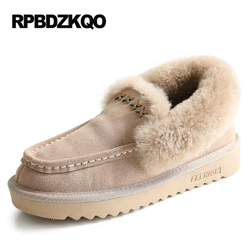 Trend Flat 2017 Shoes Fashion Winter Snow Boots Women Ankle Metal Booties Slip On Fur Round Toe Female Ladies Chinese New Short 2017 new arrival hot sale women boots solid bowtie slip on soft cute women snow boots round toe flat with winter shoes wsz31