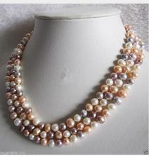 Women Gift Freshwater Long 48 7-8mm Genuine Natural White Pink Purple Pearl Necklace 100 inch