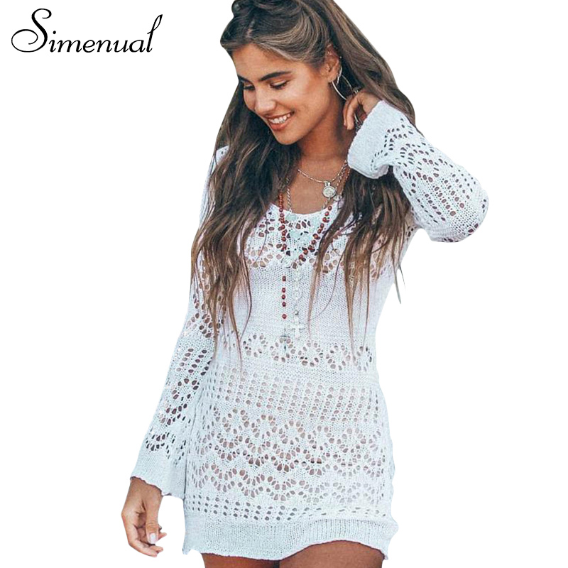 Simenual Hollow out knitted beach dress female 2018 spring summer slim sexy pareos swimwear long sleeve short dresses for women
