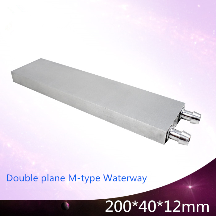 40*200*12mm industrial M-shaped water block cooling cooler waterblock Small air conditioning Aluminum radiator Heat sink fins 40 80 12mm aluminium water cooling waterblock heatsink block liquid cooler for cpu gpu laser head industrial control cabinet