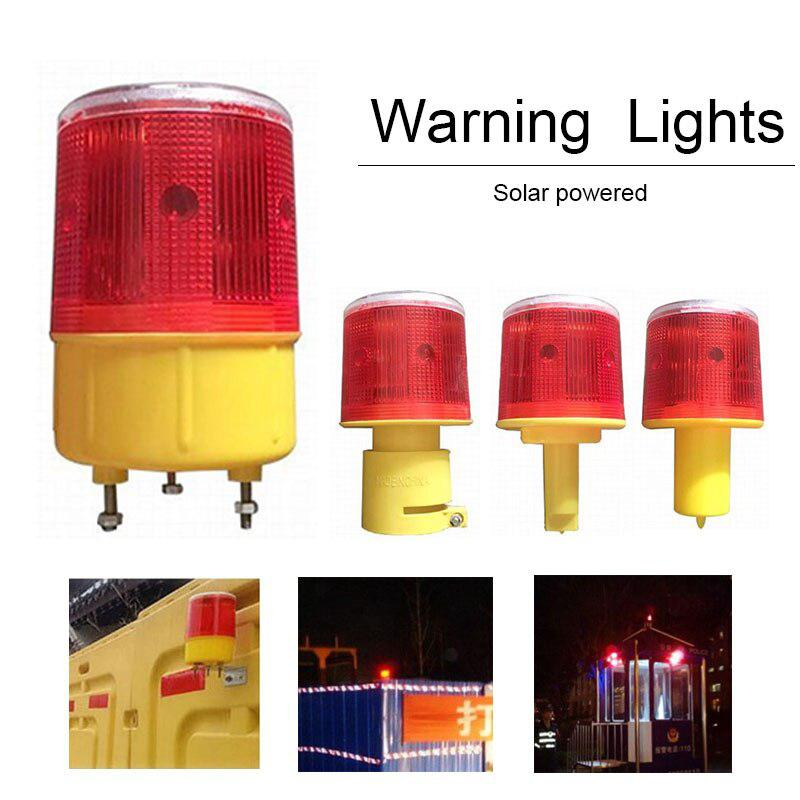 Solar Powered Traffic Warning Light LED Bulb Indicator Lamp For Construction Site Harbor Road Emergency Lighting