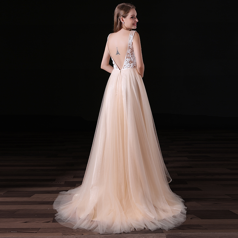 champain tulle wedding dresses