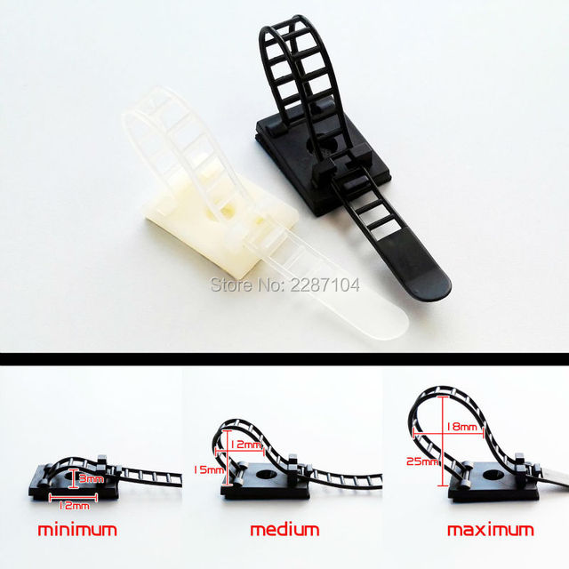 10X Black White Adjustable Self Adhesive Cable Clamp Clips Wire Cord ...