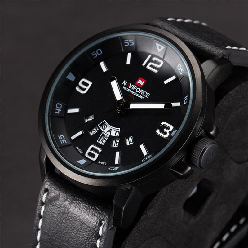 Prix pour Naviforce hommes quartz montre de sport militaire horloge 2016 de mode en cuir marque montres étanche auto date montres hommes lx03