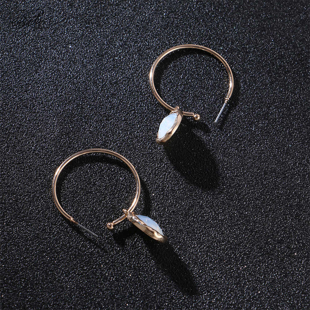 Badu Golden Round Hoop Earrings Crystal Pendant Trendy Party Earring Jewelry Women Fashion Geometric Open Hoop Circle Wholesale