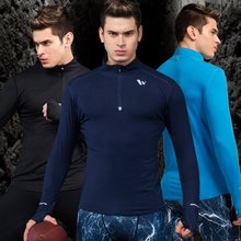 Vansydical autumn and winter new sports tights men 's fitness clothes run – speed dry shirt elastic compression training clothes