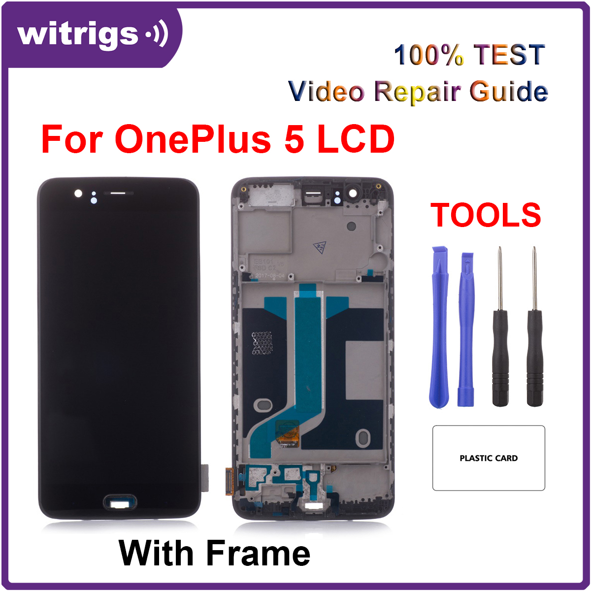 Witrigs For OnePlus 5 LCD Display Touch Screen Digitizer Assembly Replacement with Frame Fingerprint Scanner
