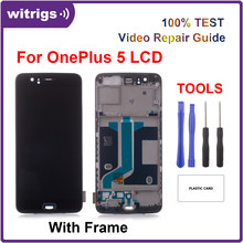 Witrigs For OnePlus 5 LCD Display Touch Screen Digitizer Assembly Replacement with Frame Fingerprint Scanner(China)