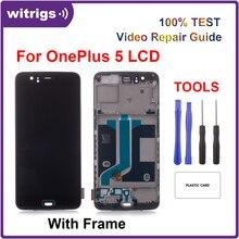 Witrigs ل OnePlus 5 شاشة الكريستال السائل مجموعة المحولات الرقمية لشاشة تعمل بلمس استبدال مع الإطار بصمة الماسح الضوئي