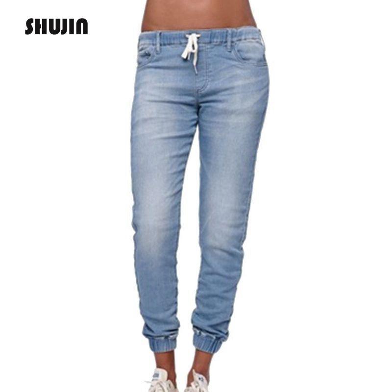 Shujin 2019 Women Elastic Pencil Pants Vintage High Waist Mom Jeans Female Casual Slim Fit Black Denim Jeans Plus Size Trousers