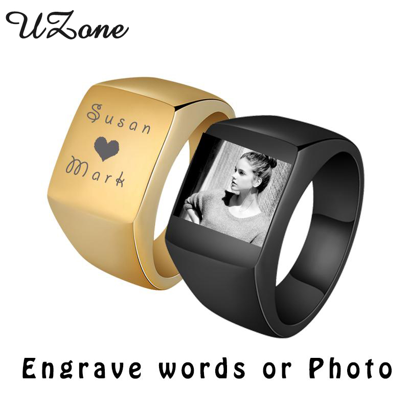 Personalize Stainless Steel Mens Signet Rings Engrave Photo  Midi Ring For Boyfriend Gift