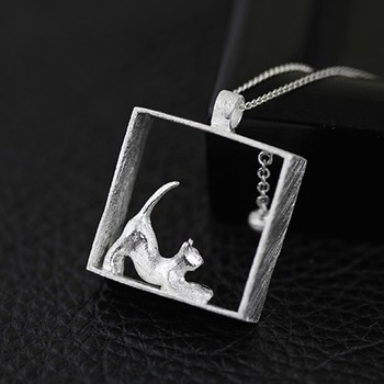 Cat 925 Sterling Silver Pendant Necklaces2