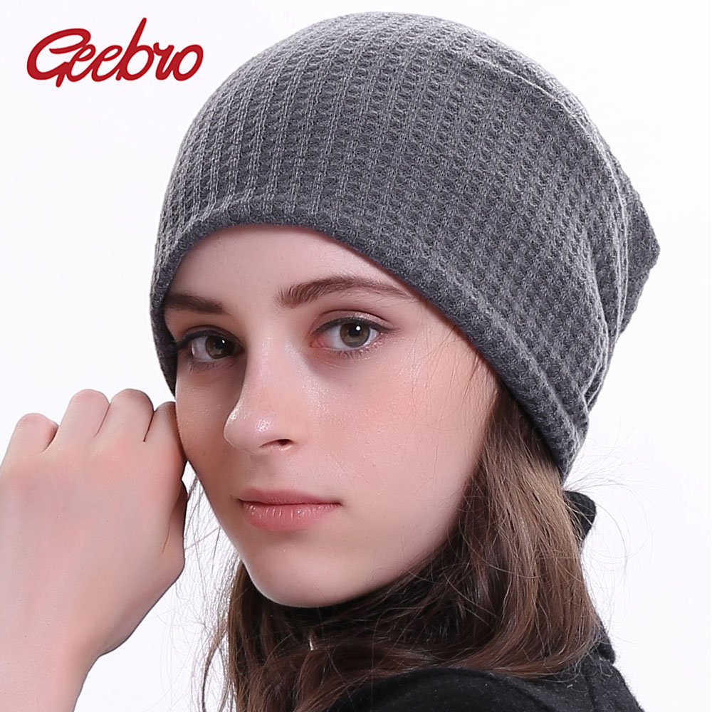 Geebro Women Knitted Ribbed Beanies Hat Winter Cap Solid Color Hip-hop Slouch Hats Girl Skullies Chapeu Feminino DQ410N