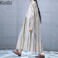 ZANZEA 2018 Summer Women Dress Long Maxi Dress Boho Vestido Vintage Floral Striped Dresses Beach Loose