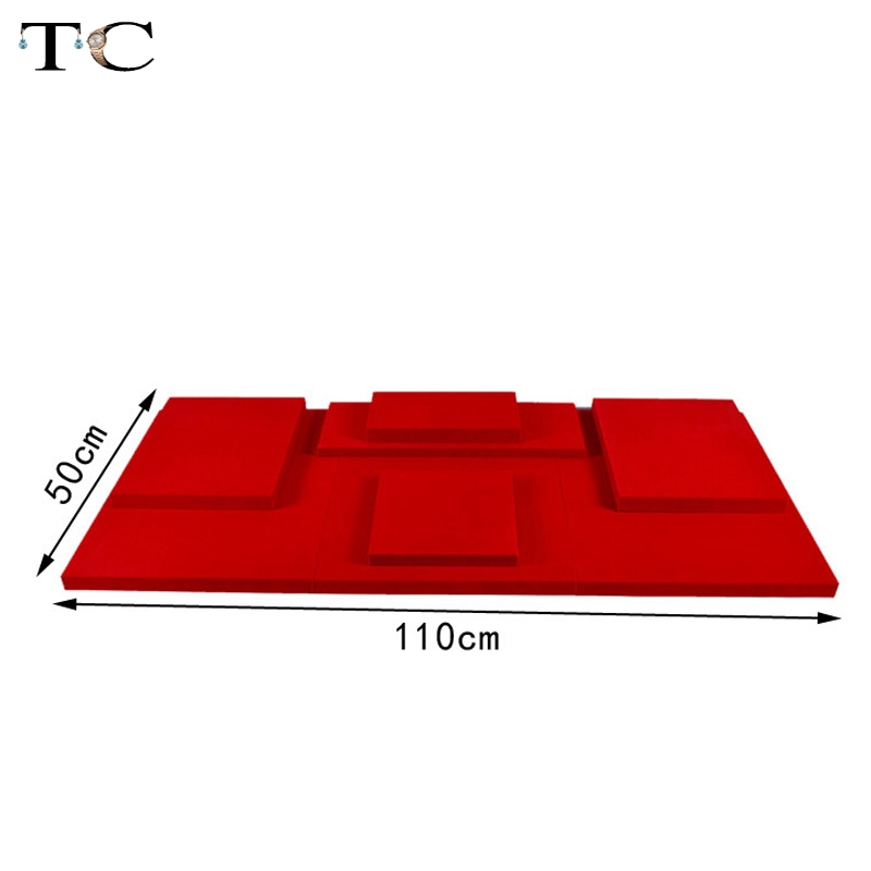 MDF Board Red Velvet Jewelry Diplay Stand Jewellery Window Showcase 100*50*2cm