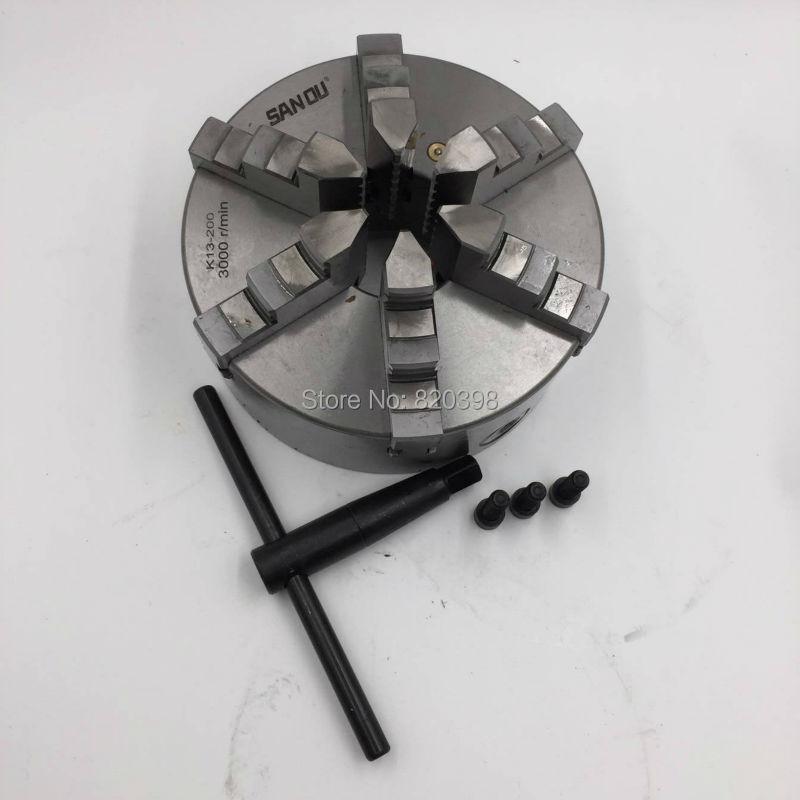 6 Jaws CNC Centering Lathe Chuck Six Jaws M10 K13 Metal Lathe Chuck K13-200 for CNC Drill Mill Machine New цена 2017