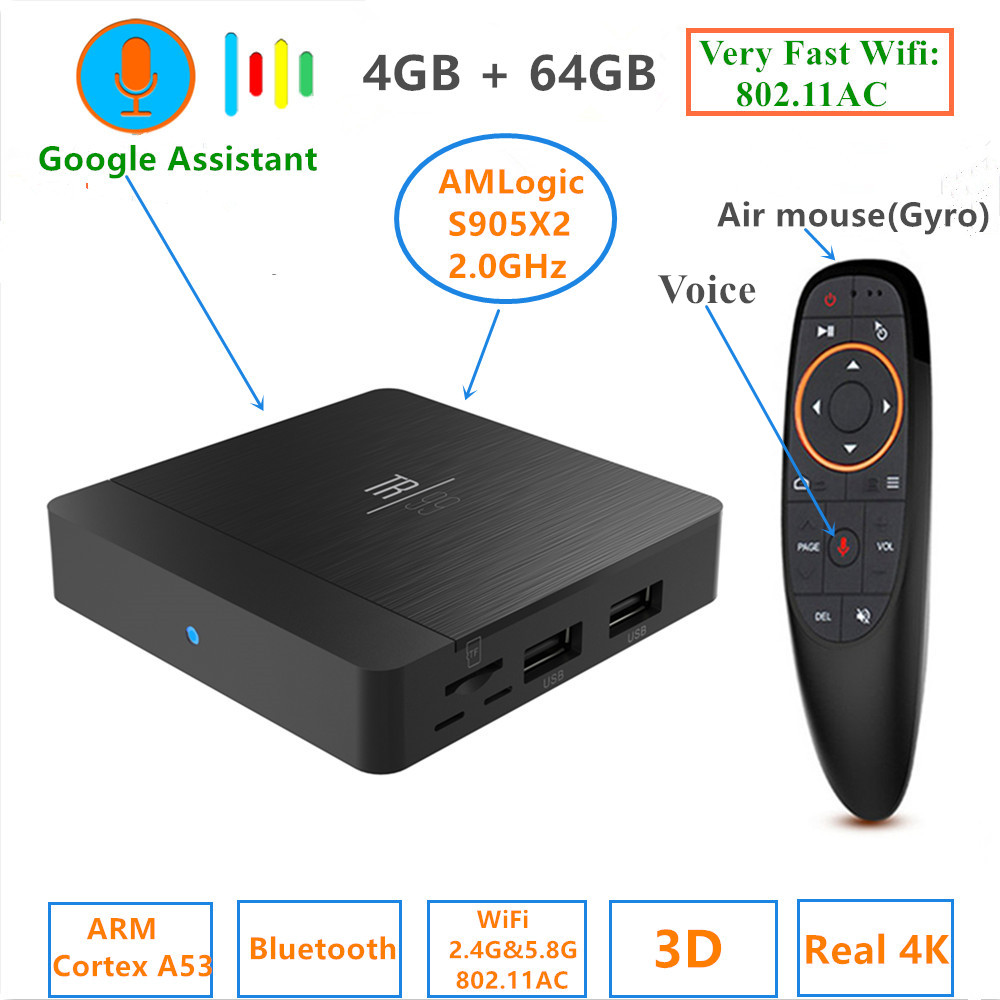 TR99 X2 Smart TV BOX Android 8.1 Amlogic S905X2 DDR4 16G//32G//64G 4K Set Top Box