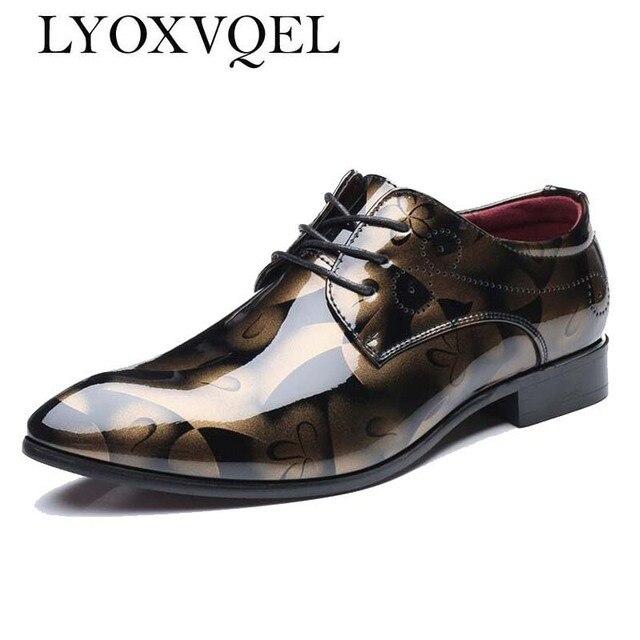 5325497a34a9 Plus Size 48 Classical Men Business Dress Shoes Patent Leather Derby Shoes  Men s Flat Oxfords Wedding Party Shoes M394