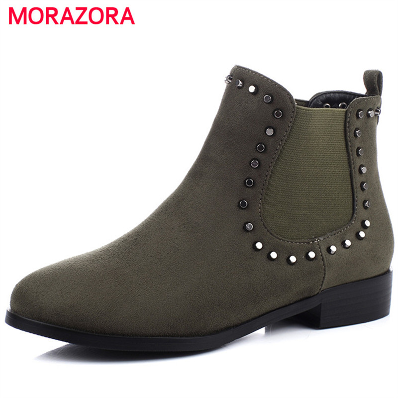 MORAZORA Fashion boots woman in spring autumn solid rivets low heels shoes ankle boots for women PU nubuck leather size 34-43MORAZORA Fashion boots woman in spring autumn solid rivets low heels shoes ankle boots for women PU nubuck leather size 34-43