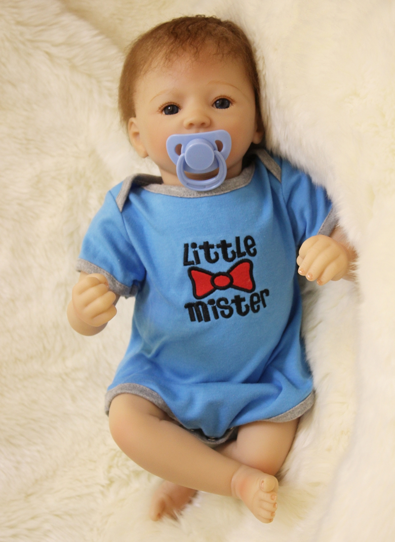 Blue Boy Reborn Dolls Soft Silicone Vinyl Dolls Reborn Baby Doll Cotton Body Lifelike Bebe Juguetes Babies Toys Educational Gift reikirc cute bebe reborn doll cotton body silicone reborn baby dolls lifelike newborn baby gift babies toys