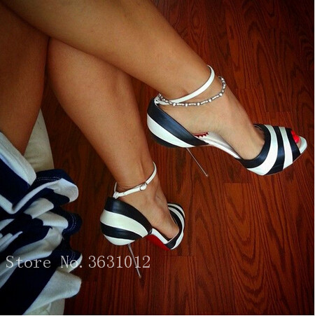Hot Fashion White Black streak Peep Toe Women Pumps Metal Thin High Heels Sexy Women Ankle Strap sandals Wedding Shoes Woma hot selling sexy sloid thin heels sandals woman new desig lace red white black sandals peep toe elegant for women free sipping