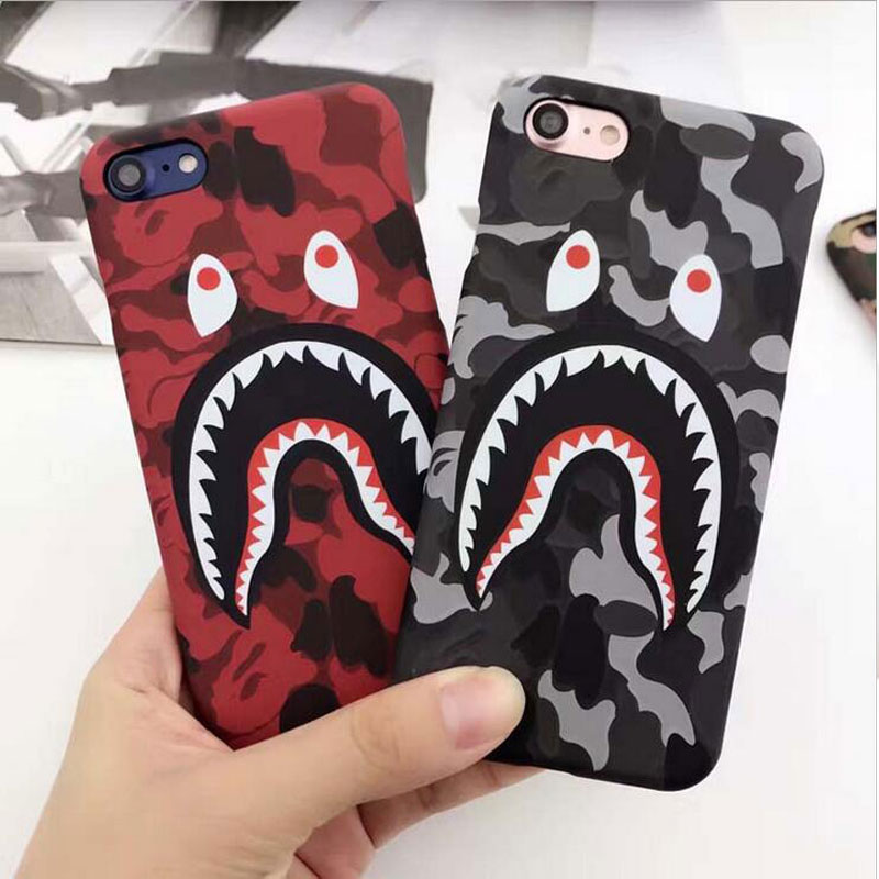Galleria fotografica 5XIAOHUO Simple Shark pattern Phone Case For iphone 6s 7 case Fashion Scrub Hard Shell For iphone 7 8 6 6S Plus cover