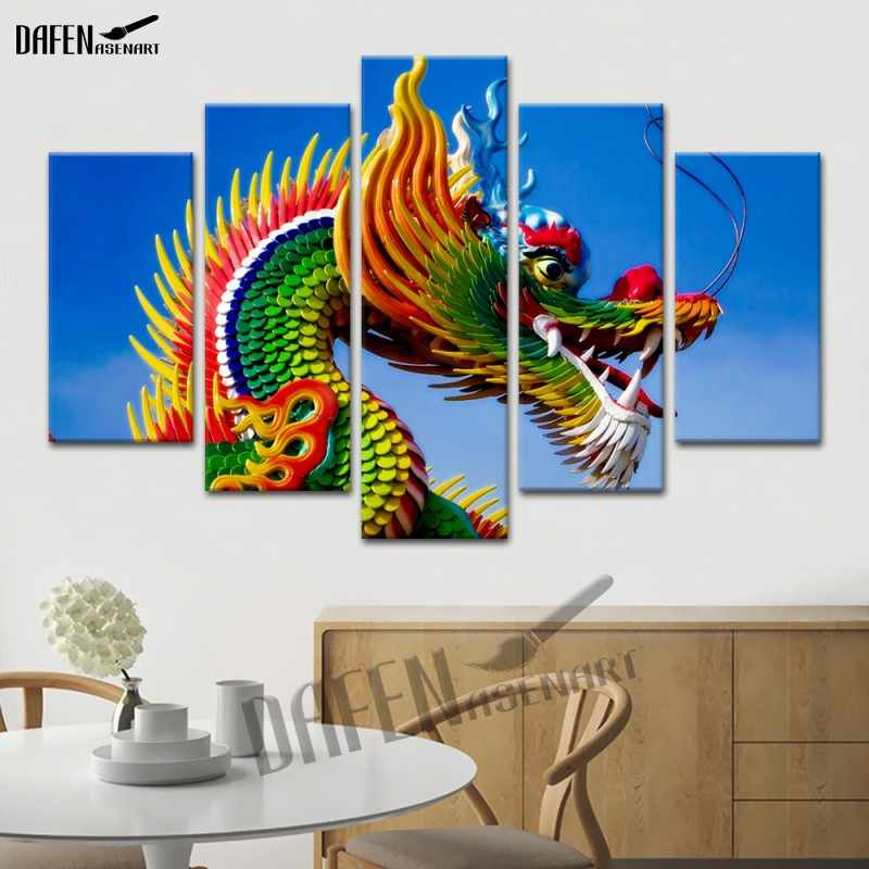 Настенный художественный 5 панелей холст Китай драконы произведение искусства картины печать плакат для гостиной домашний декор холст живопись плакат