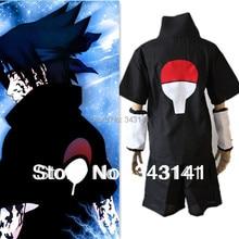 Аниме Наруто Косплэй костюм-Саске 2nd черный Для мужчин футболка комплект Бесплатная доставка Vestidos