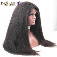 цена на Dreaming Queen Hair Kinky Straight Front Lace Wig Brazilian Human Hair Wigs Lace Frontal Wigs Italian Yaki for Black Women