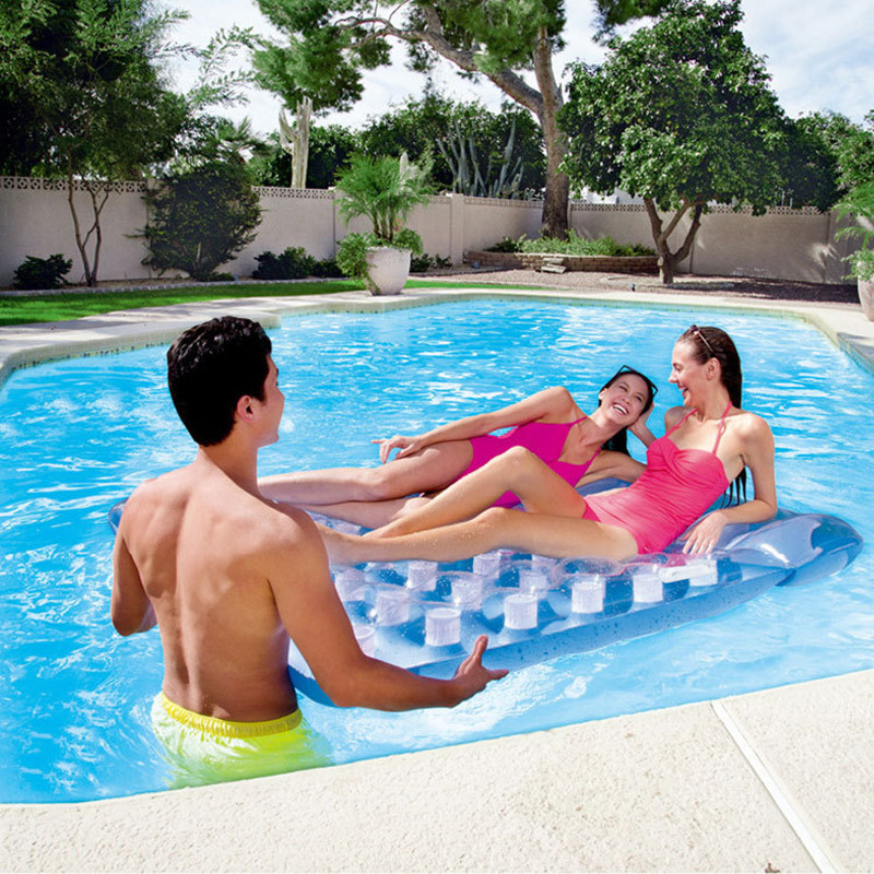 Summer Inflatable Floating Mat WATER PARK Outdoor Sunbathe Duos Recliner Mattress Swimming Ring Life Buoy Sea Party L1946