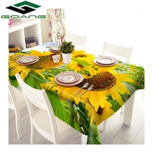GOANG table cloth 3d digital printing sunflower pattern waterproof tablecloth rectangular and round wedding covers
