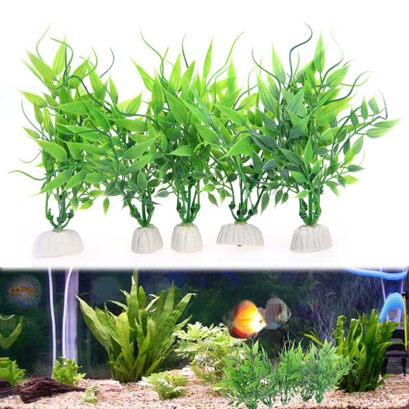 10 pcs lot artificial aquarium plants aquatic green plant for Artificial fish pond plants