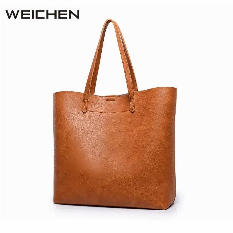 Women Handbags 2017 Luxury Designer Vintage Brown PU Leather Large Ladies Hand Bags Shoulder Bag Set Big Tote Bag Handbag Tassen