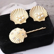 MENGJIQIAO 2019 New Design Gold Color Shell Pearl Stud Earrings Summer Style Hairpins For Women Gilrs Fashion Jewelry Sets(China)