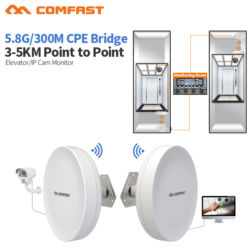 2pcs 3-5KM WIFI Range 5.8G 300Mbps Outdoor CPE WiFi Bridge Router Wireless Wifi Repeater 12dBi Antenna POE Wireless CPE Router