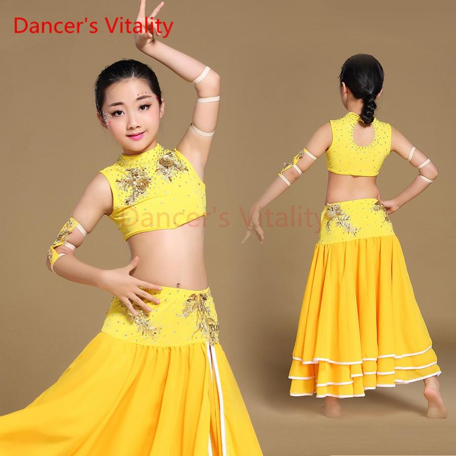 Vitalité du danseur deux couleurs Chil ren orentiel danse du ventre vêtements 4 pièces Bollywood danse Costumes pour les filles
