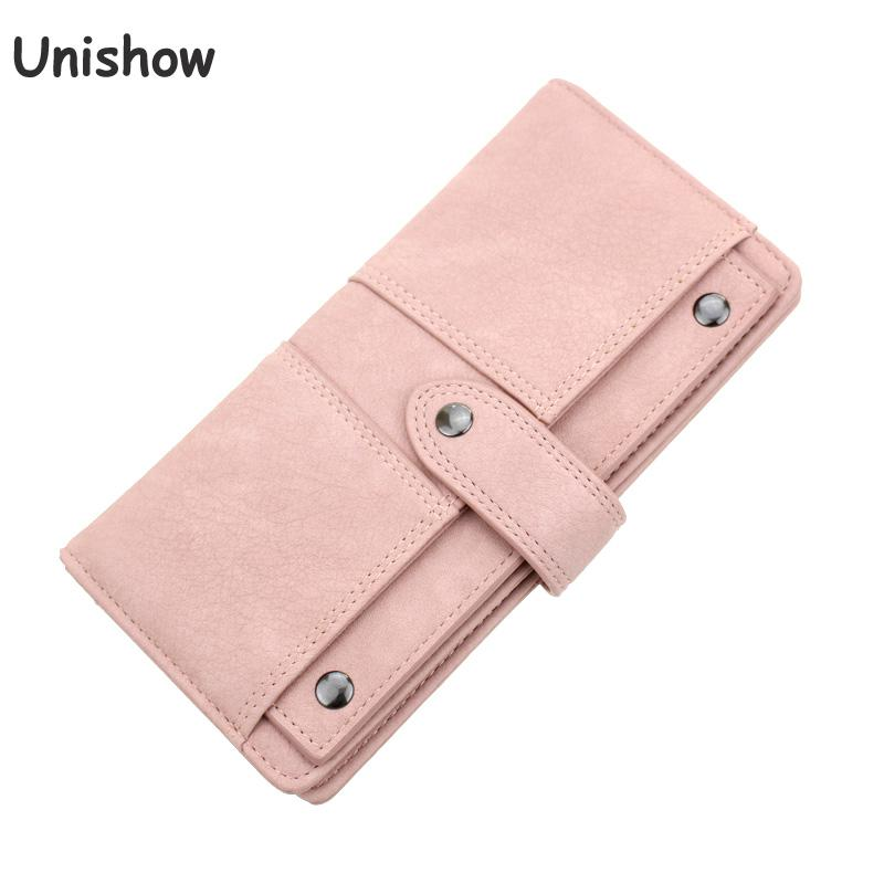 Unishow Rivet Women Long Wallet Solid Casual Hasp Women Purse Brand Female Lady Wallet Clutch With Separate Card Holder Carteira casual weaving design card holder handbag hasp wallet for women
