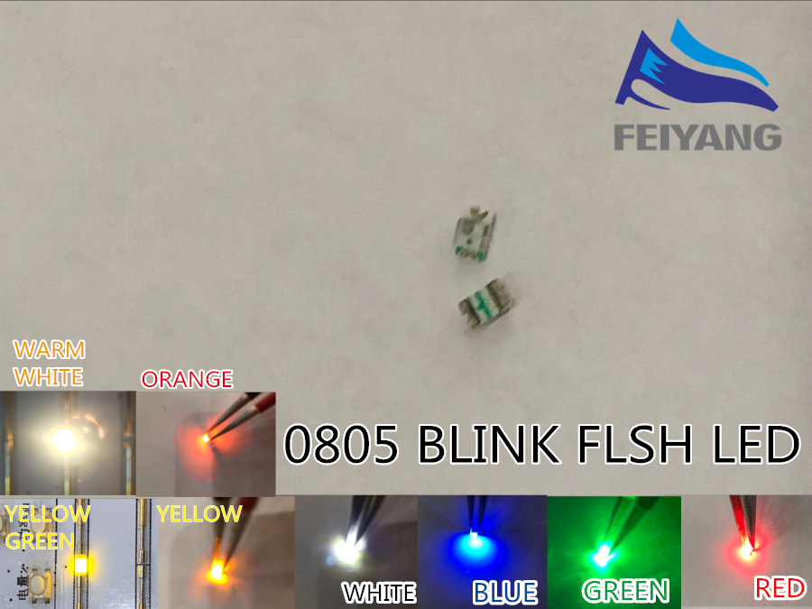 Diodes 60pcs Flashing Blink Led Diode 0805 Smd Blinking Flash Diodo Smd 0805 Mixed 10pcs Each Red Jade-green Blue White Yellow Orange Fast Color Electronic Components & Supplies